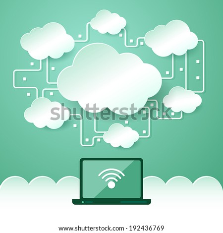 Cloud computing symbol and laptop. Vector Illustration. - stock vector
