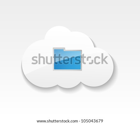 Cloud computing. Symbol of clouds and folder with documents. Concept of storing and transmitting information - stock vector