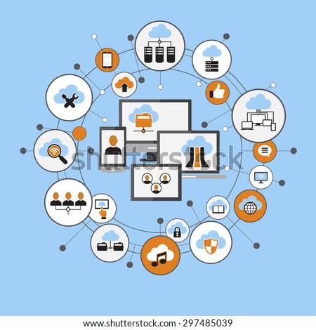 Cloud computing system. Computer, mobile phone, laptop surrounded by abstract computer network with integrated circles and icons. Communicate Infographic design background. File is saved in 10 EPS - stock vector