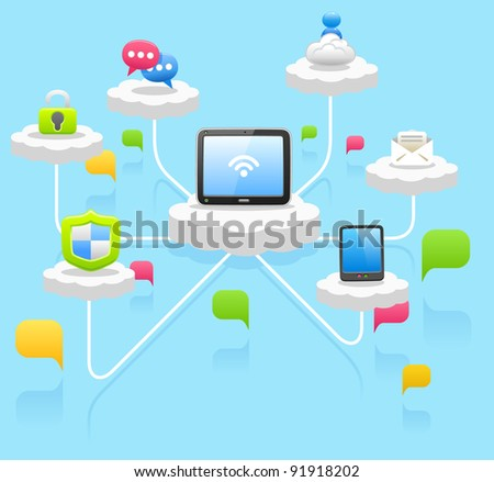 cloud computing ,tablet pc, communication,business concept. - stock vector