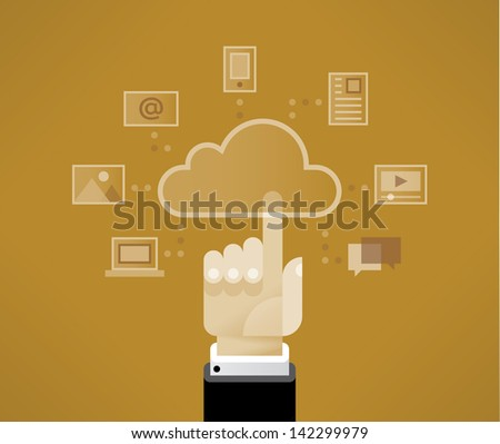 Cloud computing technologies with touching businessman hand with icons - cloud, mobile phone, document, video player, chat messages, computer, photo and e-mail. Cloud computing technologies concept.  - stock vector