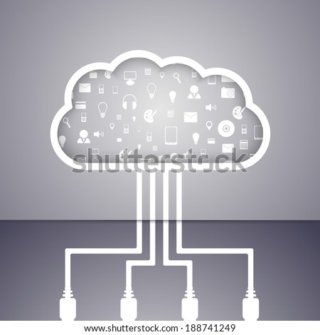 Cloud computing technology abstract concept. Vector illustration