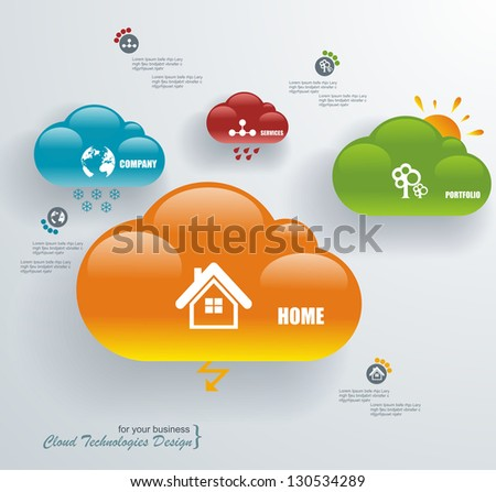 Cloud computing, technology connectivity concept - stock vector