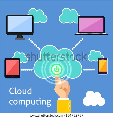 Cloud computing technology power button and connected gadgets of computer tablet mobile phone and laptop infographic vector illustration - stock vector
