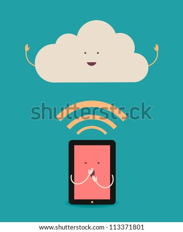 Cloud computing. The concept of reception and transmission of information between the device and the server. - stock vector