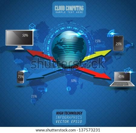 cloud computing, vector background, infographics - stock vector