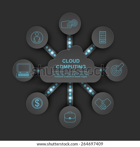 cloud computing vector diagram infographic dark style - stock vector
