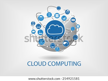 Cloud computing vector illustration with connected devices like notebooks, tablets, smart phones, smart watches, servers, data, information. Illustration of globe in flat design - stock vector