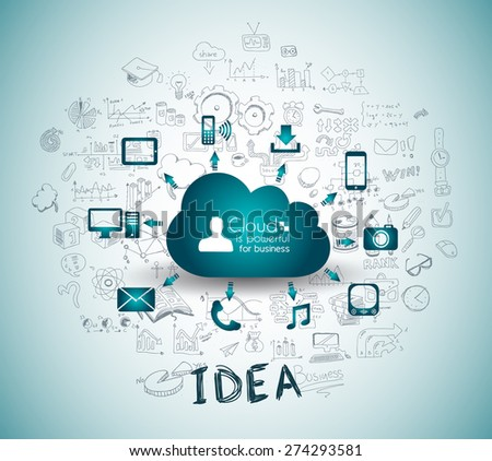 Cloud Computing with Business doodles Sketch background: infographics vector elements isolated, . It include lots of icons included graphs, stats, devices,laptops, clouds, concepts and so on. - stock vector