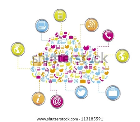cloud computing with icons isolated. vector illustration