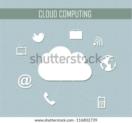 cloud computing with icons, vintage style. vector illustration