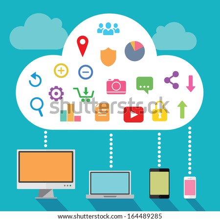 Cloud computing with multiple devices - stock vector