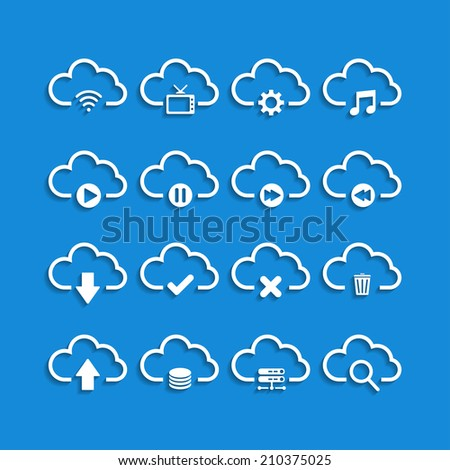 cloud computing with shadow icon set, vector eps10. - stock vector