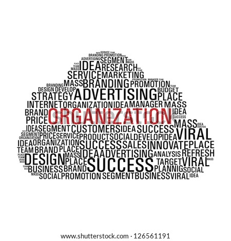Cloud computing with words related to business organization isolated over white. Vector file layered for easy manipulation and custom coloring. - stock vector