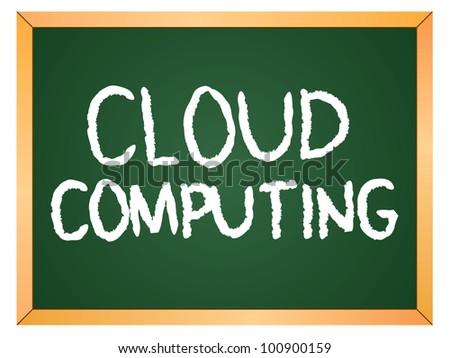 cloud computing word written on chalkboard - stock vector