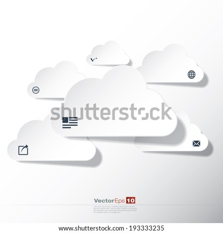 Cloud concept with icons in editable vector format - stock vector