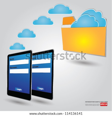 Cloud connected to a folder,Vector - stock vector