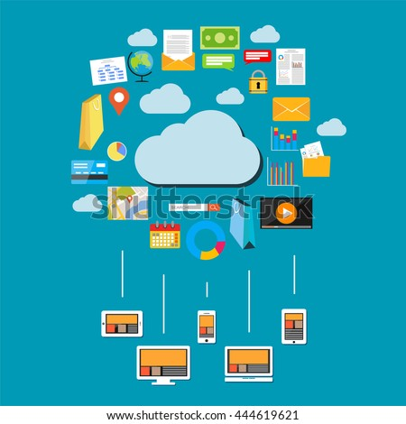 Cloud data & data storage. Devices connect to cloud storage. Cloud computing concept. - stock vector