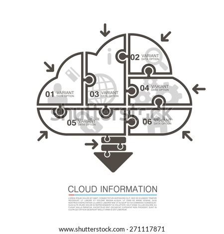 Cloud data with icons puzzle. Vector infographic illustration - stock vector