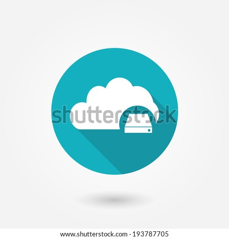 Cloud Database Icon : Cloud Computing Concept in flat style with long shadow - stock vector