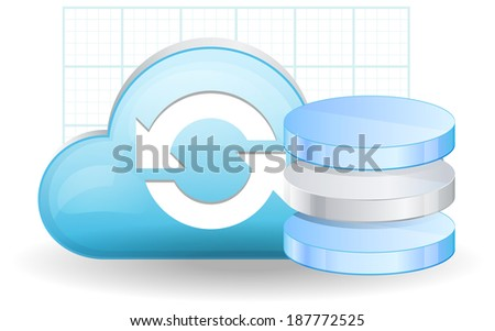Cloud Database Services - Illustration - stock vector