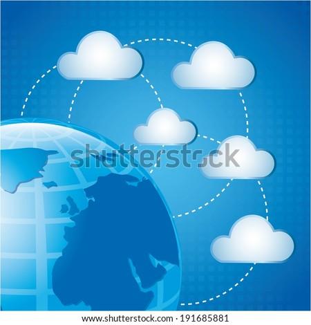 Cloud design over  blue background, vector illustration - stock vector