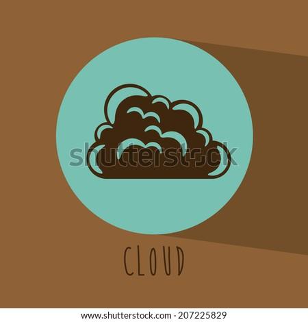 Cloud design over brown background, vector illustration - stock vector