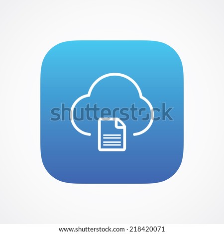 Cloud document file storage icon button, vector illustration. Simple flat metro design style. esp10 - stock vector