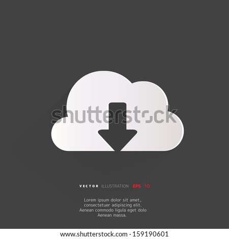 Cloud download application web icon - stock vector
