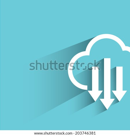 cloud download, blue background, flat and shadow theme - stock vector