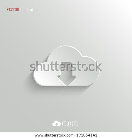 Cloud download icon - vector web illustration, easy paste to any background - stock vector