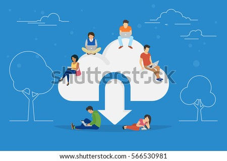 Cloud downloading concept illustration of young people using mobile gadgets such as tablet pc and laptop for downloading app from cloud storage. Flat design of guys and women standing near big symbol
