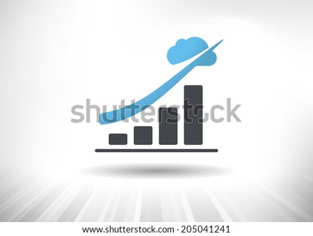 Cloud Economy. Cloud computing concept with rising bar chart and blue cloud ending the trendline arrow. Background and graph layered for easy customization. Fully scalable vector illustration. - stock vector