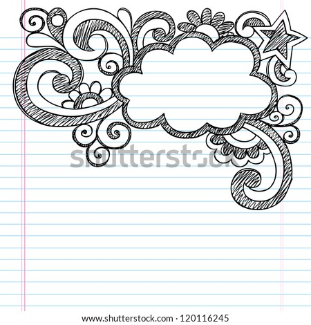 Cloud Frame Border Back to School Sketchy Notebook Doodles- Vector Illustration Design on Lined Sketchbook Paper Background - stock vector
