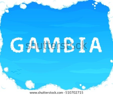 "Cloud ""Gambia"" on Blue Sky for Web, Mobile and Presentations"