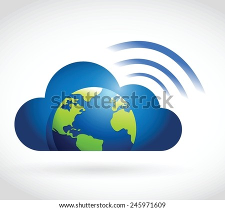 cloud globe and wifi signal sign illustration design over a white background - stock vector