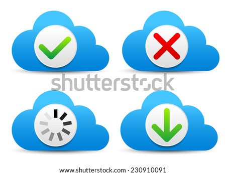 Cloud graphics with different symbols - check mark, cross, loading, arrow - stock vector