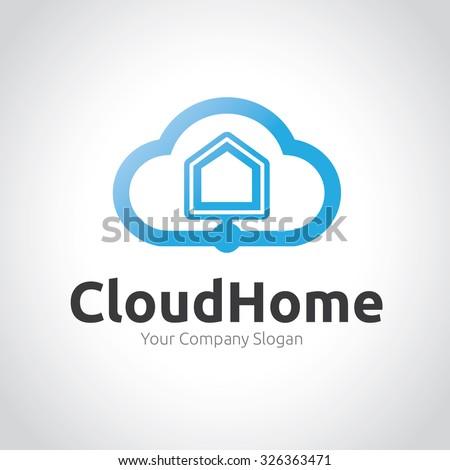 Cloud Home,Cloud Logo,Vector Logo Template - stock vector
