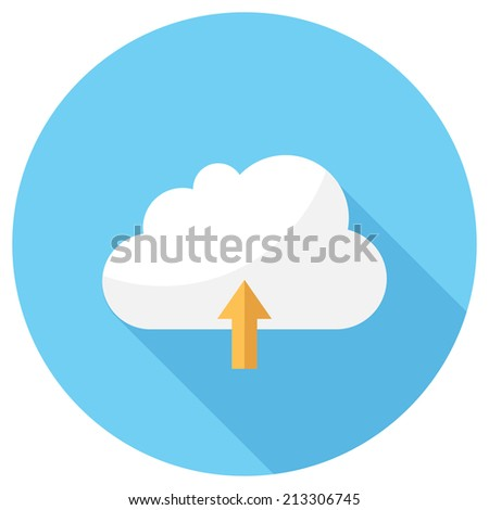 Cloud icon. Flat design style modern vector illustration. Isolated on stylish color background. Flat long shadow icon. Elements in flat design. - stock vector