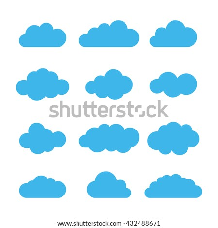 Cloud icon set. Different cloud shapes. Flat cloud collection. Vector illustration.