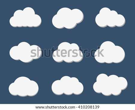 Cloud icon. Set of different white clouds on a blue background. Cloud shape, cloud icon. Cloud flat. Cloud icon art. Vector illustration, eps 10 - stock vector