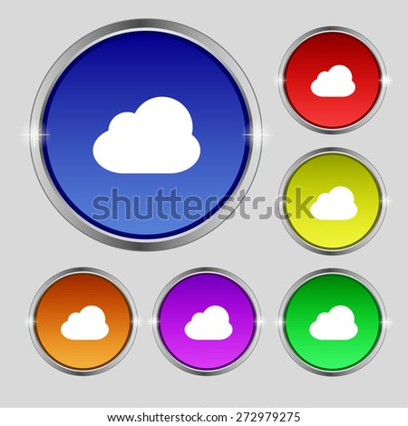 Cloud icon sign. Round symbol on bright colourful buttons. Vector illustration - stock vector