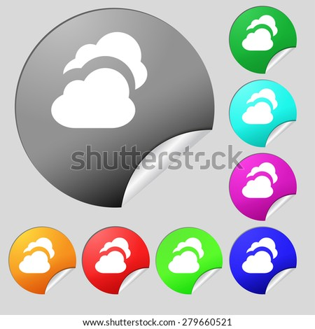 Cloud  icon sign. Set of eight multi-colored round buttons, stickers. Vector illustration - stock vector