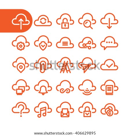 Cloud icons. Fat Line cloud Icon set for web and mobile. Modern minimalistic flat design elements of cloud computing and cloud wireless technology. Cloud storage. Cloud technology. Cloud logo. - stock vector