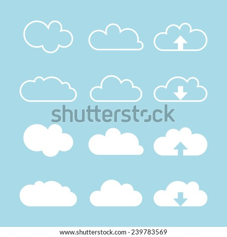 Cloud icons set. Cloud icons for cloud computing web and app. Vector illustration - stock vector