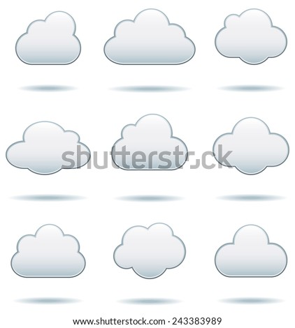 Cloud Icons - Set of nine cloud icons with drop shadows.  Colors are global swatches, so they can be modified easily.