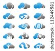 Cloud icons set. Simple two colors computing symbols, signs and logos. - stock vector
