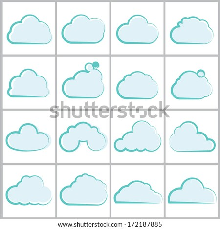 cloud icons set, vector