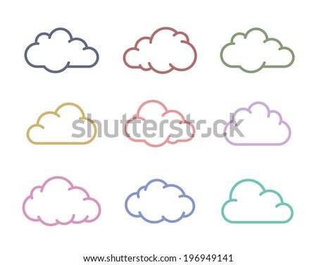 Cloud icons. Vector cloud shapes collection - stock vector