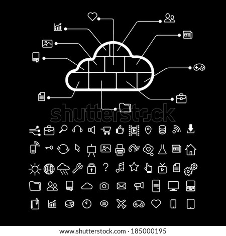 cloud info graphics monochrome - stock vector